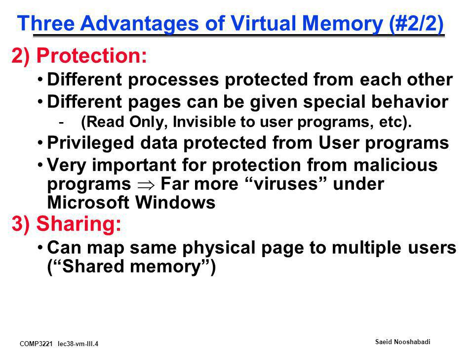 COMP3221 lec38-vm-III.15 Saeid Nooshabadi 2-level Page Table 0 Physical Memory 64 MB Virtual Memory  Code Static Heap Stack 0...