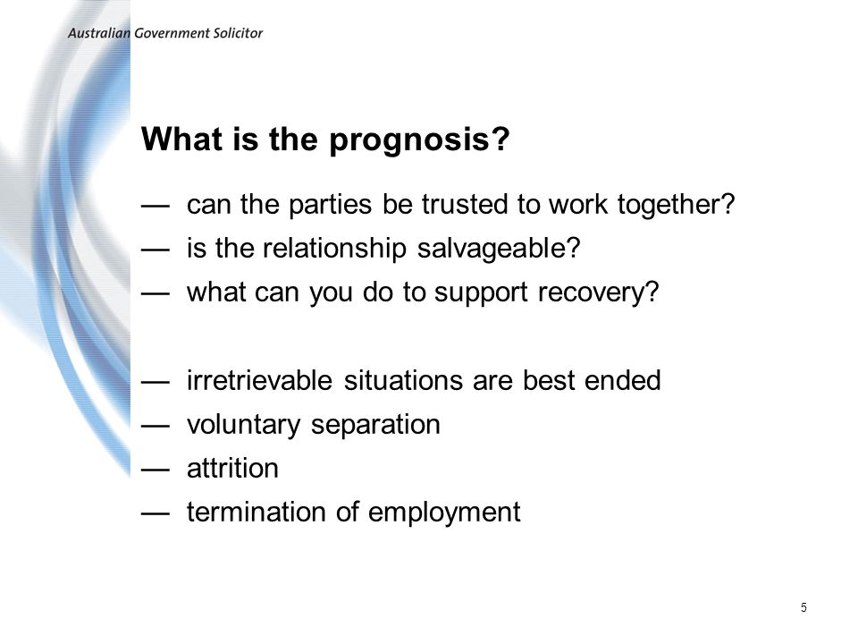 5 What is the prognosis. —can the parties be trusted to work together.