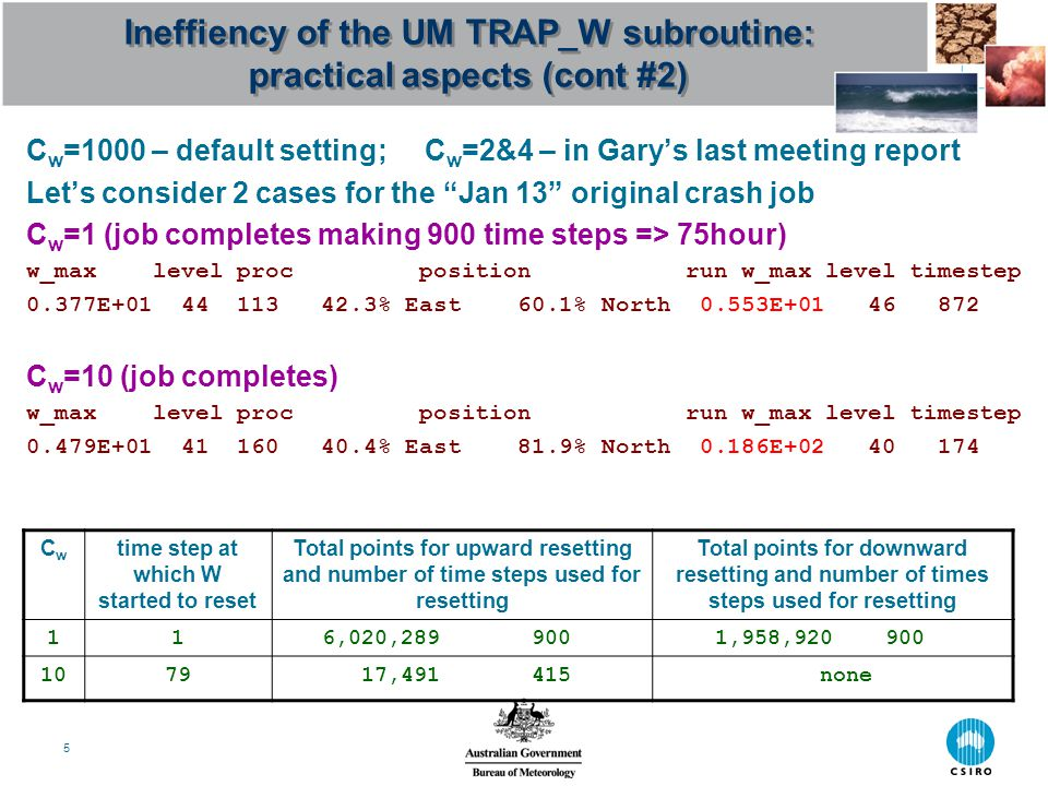 6 Ineffiency of the UM TRAP_W subroutine: implementation aspects Let's take a piece of a UM code referred by Gary: IF ((k>Cw_test_lev).OR.(ic_xy(i,j)>0)) THEN ic_xy(i,j) = 1 ic = ic + 1 w_adv(i,j,k) = w_test(i,j) k>Cw_test_lev condition should be moved outside and merged with the loop Do k=model_levels-1,1,-1 & k>Cw_test_lev condition => Do k=model_levels-1,max(1, Cw_test_lev+1),-1 Condition ic_xy(i,j)>0 is redundant There is a number of other redundant statements in the subroutine