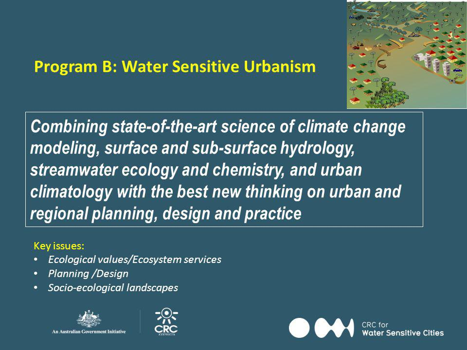 Society Water Sensitive Urbanism Future Technologies Adoption Pathways B2 Planning, Design and Management to Protect and Restore Receiving Waters B3 Water Sensitive Urban Design and Urban Micro-climate B1 Catchment-scale Landscape Planning for Water Sensitive Cities in an age of Climate Change B4 Building Socio-technical Flood Resilience in Cities and Towns B5 Statutory Planning for Water Sensitive Urban Design