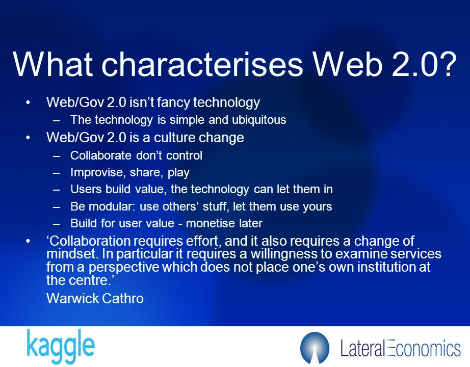 What characterises Web 2.0.