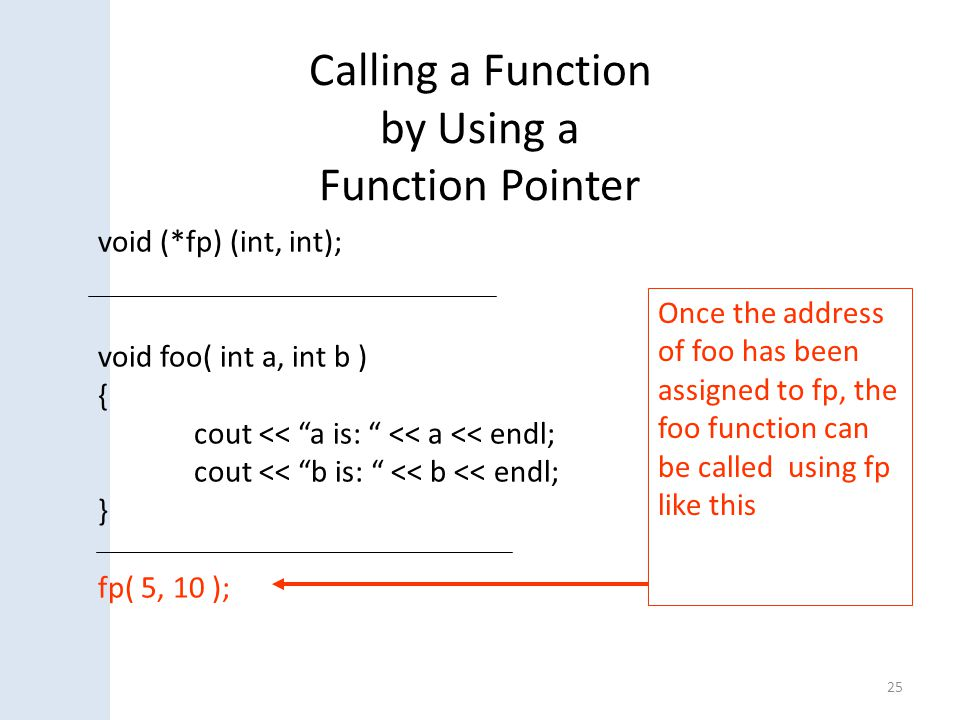 Calling a Function by Using a Function Pointer 25 Once the address of foo has been assigned to fp, the foo function can be called using fp like this v
