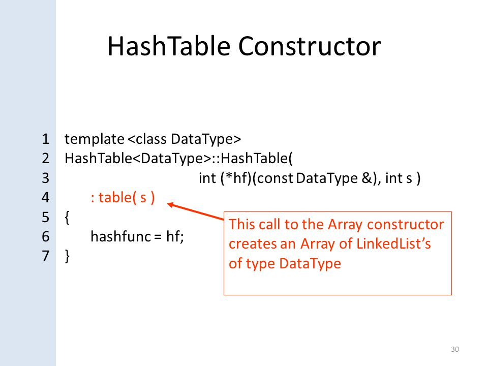 HashTable Constructor 30 1 template 2 HashTable ::HashTable( 3 int (*hf)(const DataType &), int s ) 4: table( s ) 5 { 6hashfunc = hf; 7 } This call to the Array constructor creates an Array of LinkedList's of type DataType