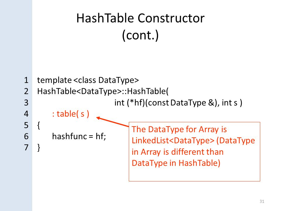 HashTable Constructor (cont.) 31 1 template 2 HashTable ::HashTable( 3 int (*hf)(const DataType &), int s ) 4: table( s ) 5 { 6hashfunc = hf; 7 } The