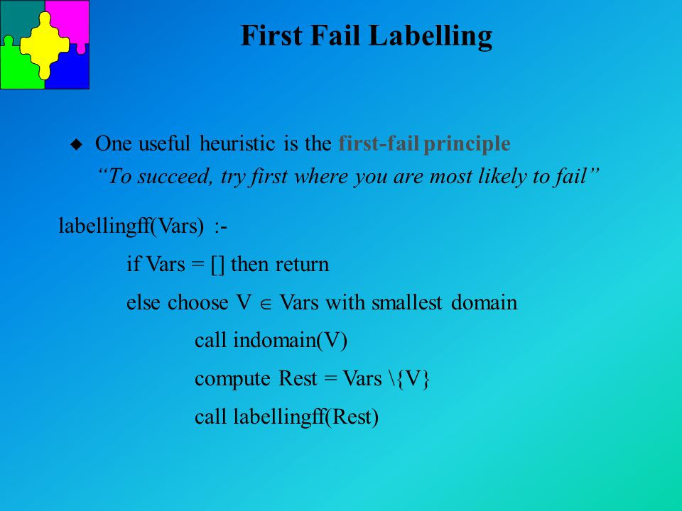 First Fail Labelling u One useful heuristic is the first-fail principle To succeed, try first where you are most likely to fail labellingff(Vars) :- if Vars = [] then return else choose V  Vars with smallest domain call indomain(V) compute Rest = Vars \{V} call labellingff(Rest)