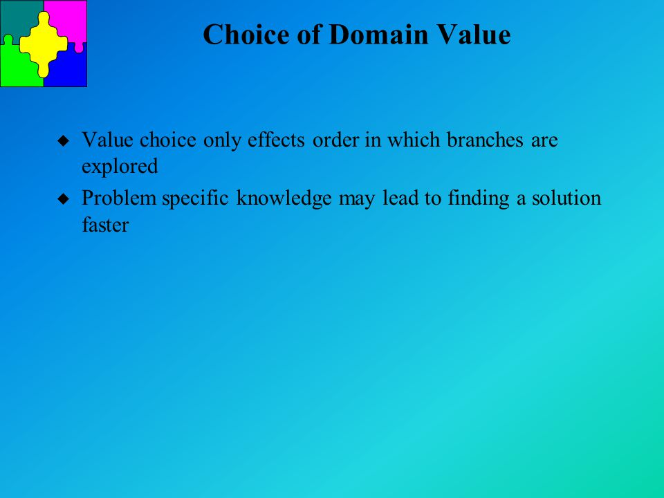 Choice of Domain Value u Value choice only effects order in which branches are explored u Problem specific knowledge may lead to finding a solution fa