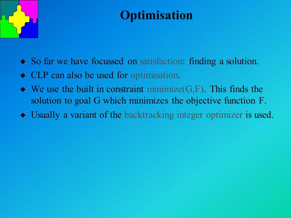 Optimisation u So far we have focussed on satisfaction: finding a solution.