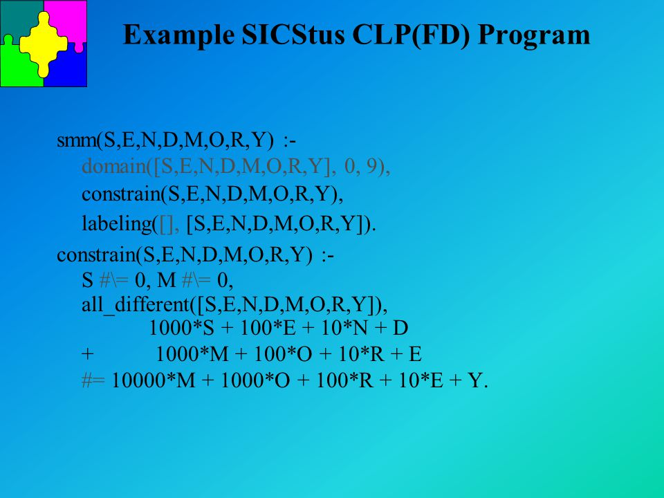Example SICStus CLP(FD) Program smm(S,E,N,D,M,O,R,Y) :- domain([S,E,N,D,M,O,R,Y], 0, 9), constrain(S,E,N,D,M,O,R,Y), labeling([], [S,E,N,D,M,O,R,Y]).