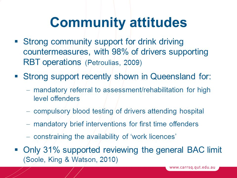 Community attitudes  Strong community support for drink driving countermeasures, with 98% of drivers supporting RBT operations (Petroulias, 2009)  Strong support recently shown in Queensland for:  mandatory referral to assessment/rehabilitation for high level offenders  compulsory blood testing of drivers attending hospital  mandatory brief interventions for first time offenders  constraining the availability of 'work licences'  Only 31% supported reviewing the general BAC limit (Soole, King & Watson, 2010)