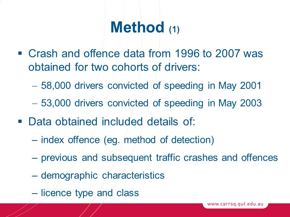 Method (1)  Crash and offence data from 1996 to 2007 was obtained for two cohorts of drivers:  58,000 drivers convicted of speeding in May 2001  53,000 drivers convicted of speeding in May 2003  Data obtained included details of: –index offence (eg.