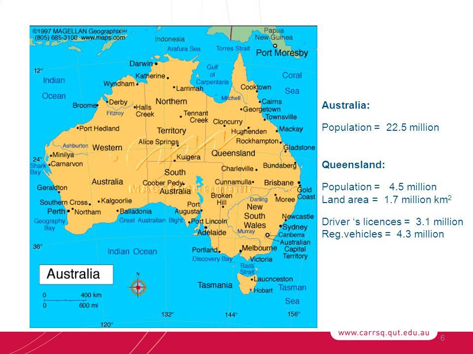 6 Australia: Population = 22.5 million Queensland: Population = 4.5 million Land area = 1.7 million km 2 Driver 's licences = 3.1 million Reg.vehicles = 4.3 million