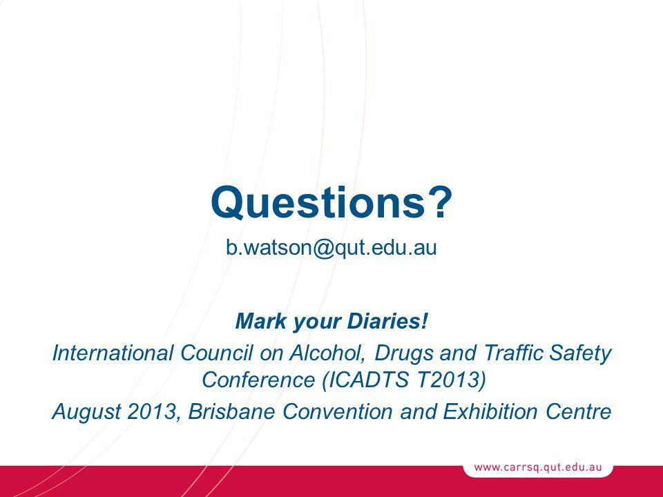 Questions. b.watson@qut.edu.au Mark your Diaries.