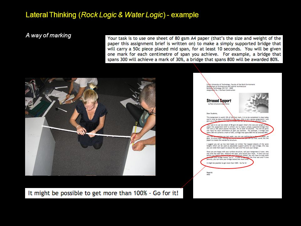 Lateral Thinking (Rock Logic & Water Logic) - example A way of marking