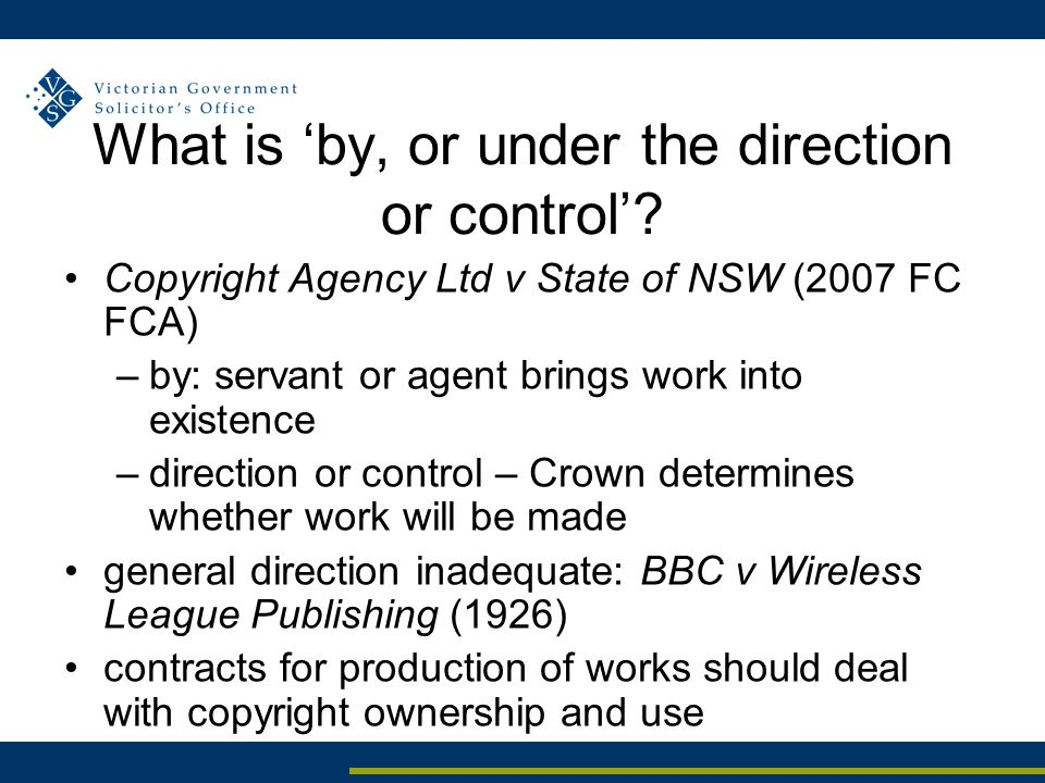 What is 'by, or under the direction or control'.