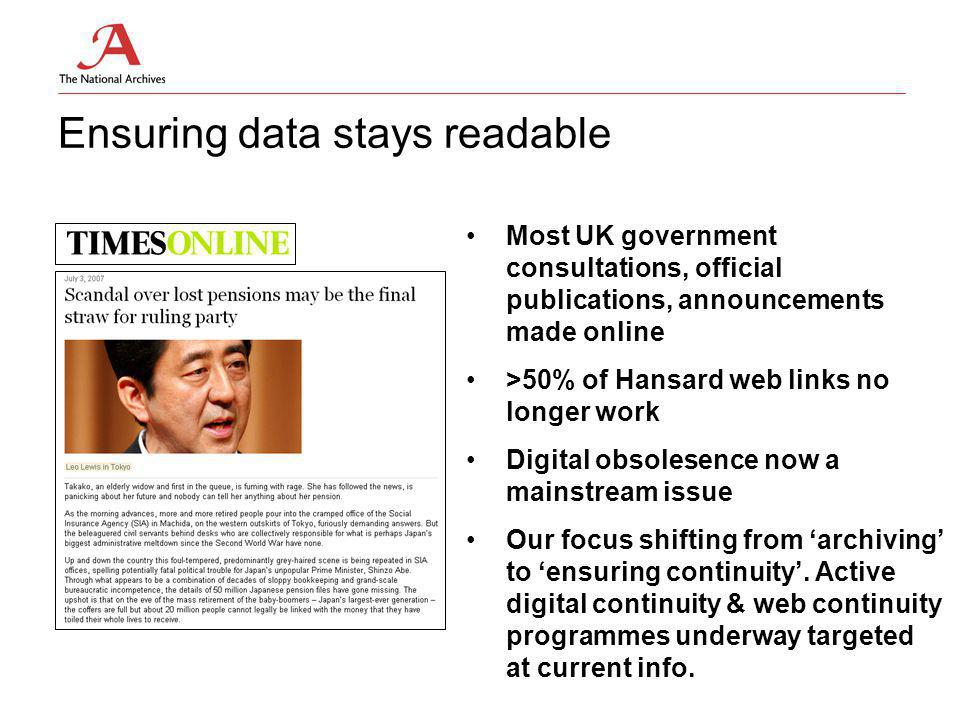 Ensuring data stays readable Most UK government consultations, official publications, announcements made online >50% of Hansard web links no longer work Digital obsolesence now a mainstream issue Our focus shifting from 'archiving' to 'ensuring continuity'.