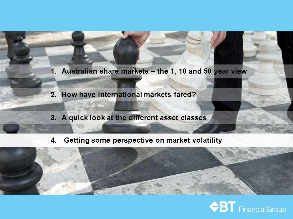 3.A quick look at the different asset classes 1.Australian share markets – the 1, 10 and 50 year view 2.How have international markets fared.
