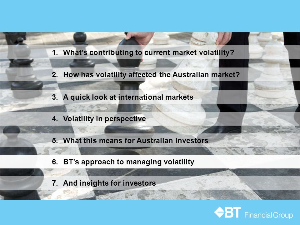 5.What this means for Australian investors 3.A quick look at international markets 1.What's contributing to current market volatility.