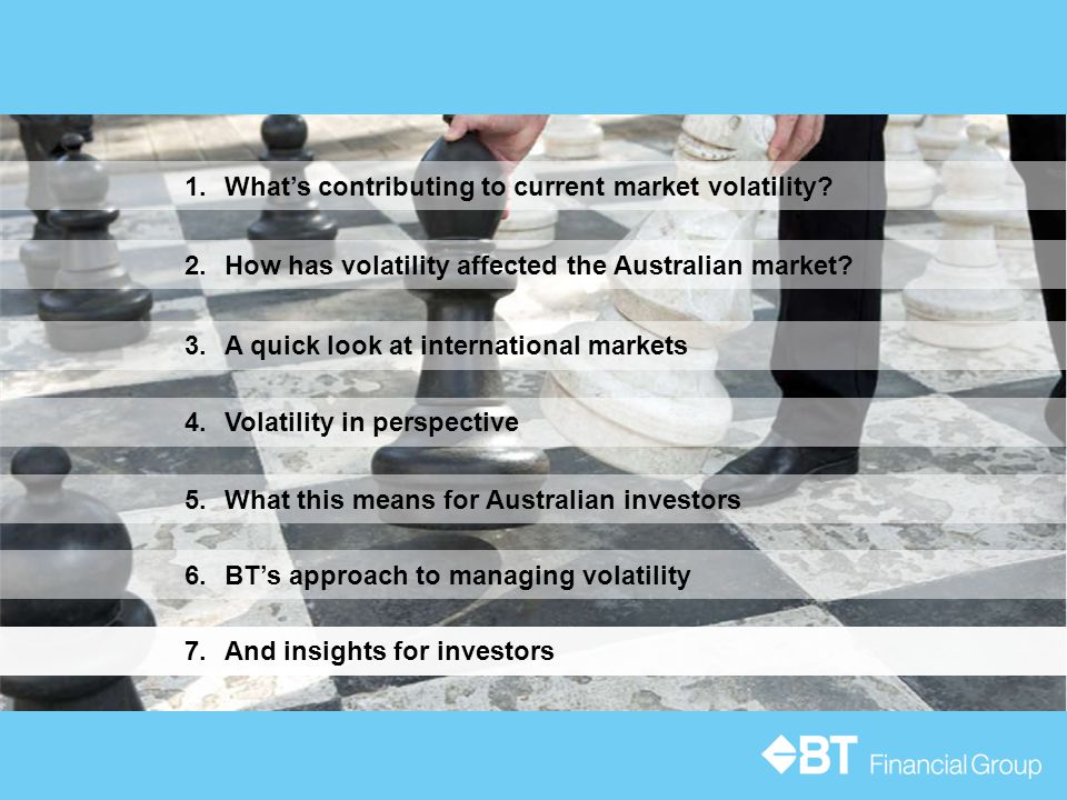 5.What this means for Australian investors 3.A quick look at international markets 1.What's contributing to current market volatility? 6.BT's approach