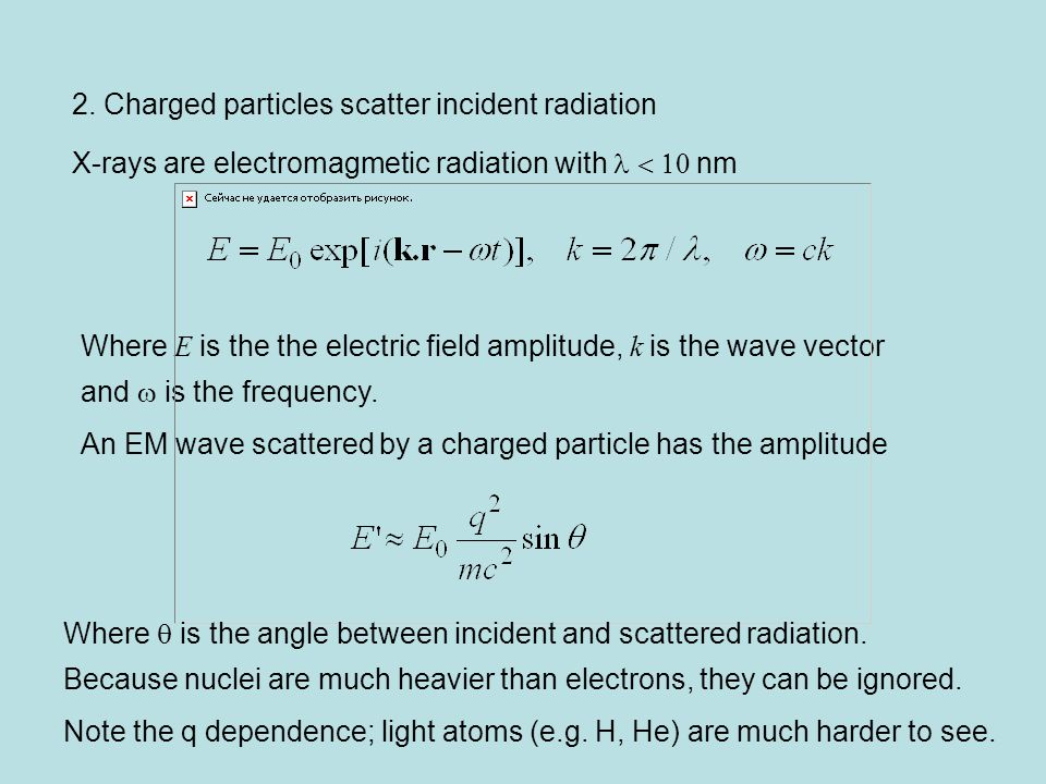 2. Charged particles scatter incident radiation X-rays are electromagmetic radiation with  nm Where E is the the electric field amplitude, k is