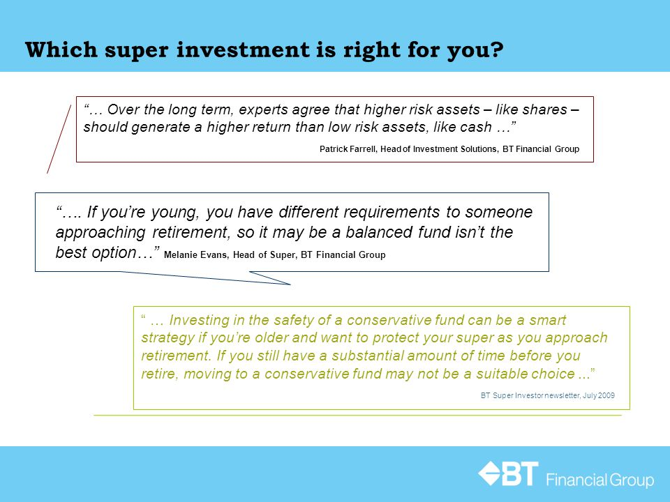 Which super investment is right for you.