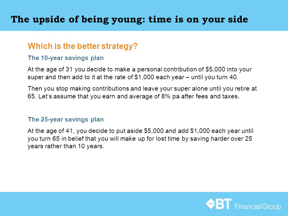 The upside of being young: time is on your side The 10-year savings plan At the age of 31 you decide to make a personal contribution of $5,000 into your super and then add to it at the rate of $1,000 each year – until you turn 40.