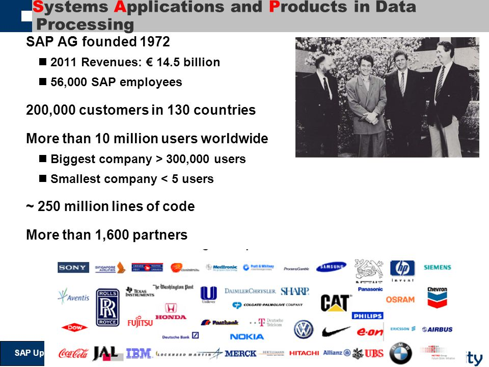 @ V ictoria U niversity SAP Update And Strategy Systems Applications and Products in Data Processing SAP AG founded 1972 2011 Revenues: € 14.5 billion