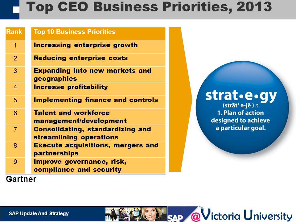 @ V ictoria U niversity SAP Update And Strategy Top CEO Business Priorities, 2013 Gartner