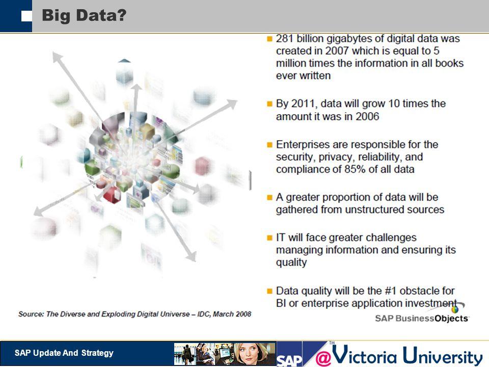 @ V ictoria U niversity SAP Update And Strategy Big Data?