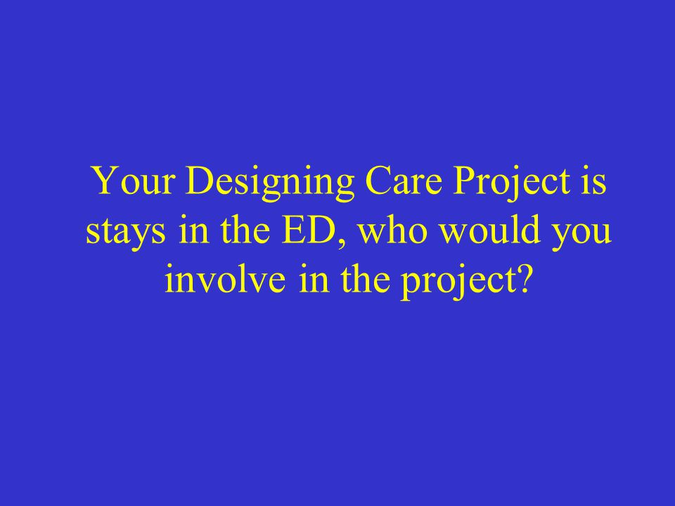 Your Designing Care Project is stays in the ED, who would you involve in the project?