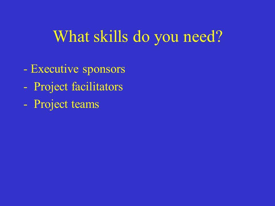 What skills do you need? - Executive sponsors -Project facilitators -Project teams