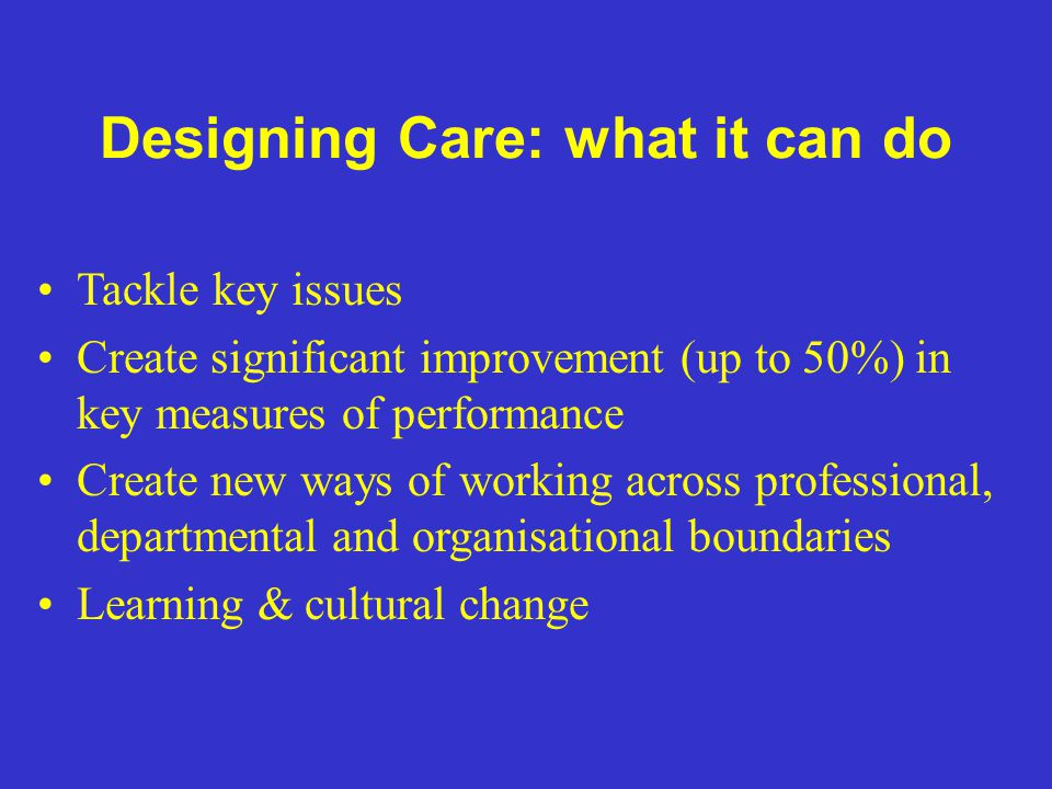 Designing Care: what it can do Tackle key issues Create significant improvement (up to 50%) in key measures of performance Create new ways of working