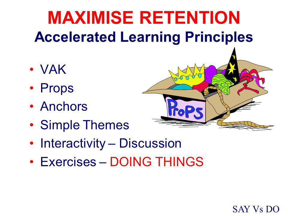MAXIMISE RETENTION Accelerated Learning Principles VAK Props Anchors Simple Themes Interactivity – Discussion Exercises – DOING THINGS SAY Vs DO