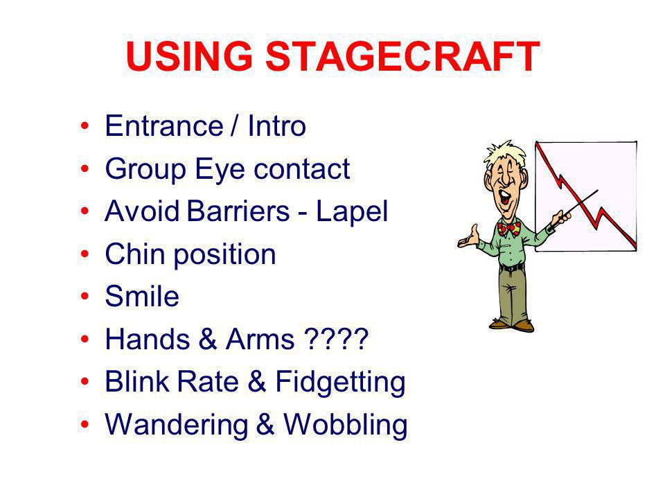 USING STAGECRAFT Entrance / Intro Group Eye contact Avoid Barriers - Lapel Chin position Smile Hands & Arms .