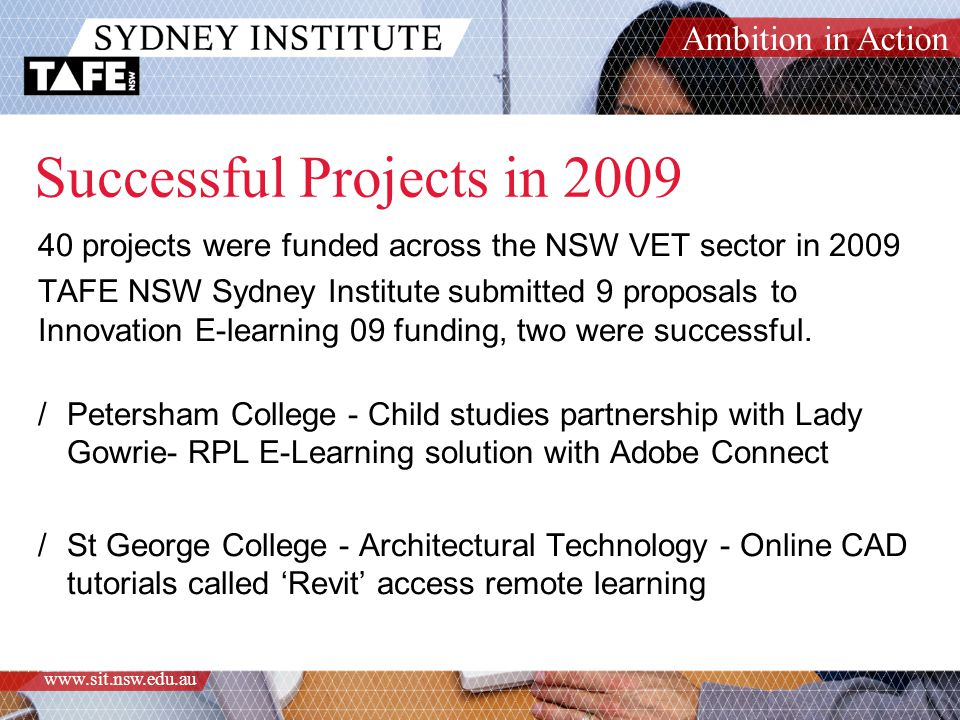 Ambition in Action www.sit.nsw.edu.au Thinking about a submission.