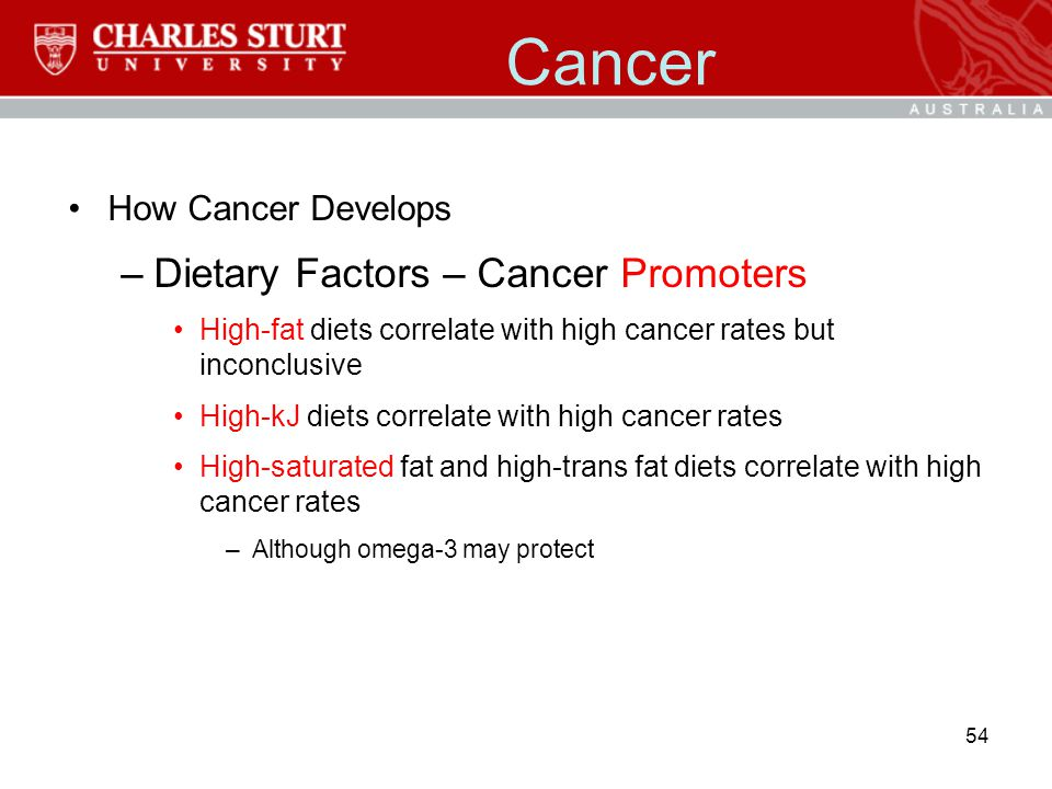 Cancer How Cancer Develops –Dietary Factors – Cancer Promoters High-fat diets correlate with high cancer rates but inconclusive High-kJ diets correlat