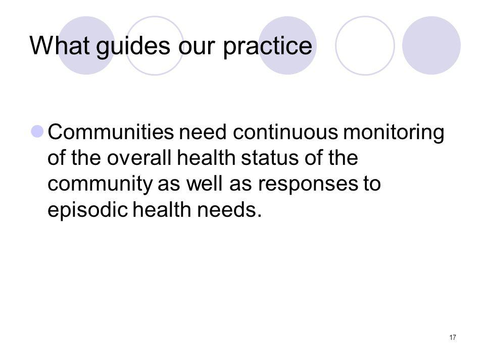 17 What guides our practice Communities need continuous monitoring of the overall health status of the community as well as responses to episodic health needs.