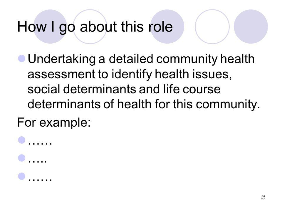 25 How I go about this role Undertaking a detailed community health assessment to identify health issues, social determinants and life course determinants of health for this community.