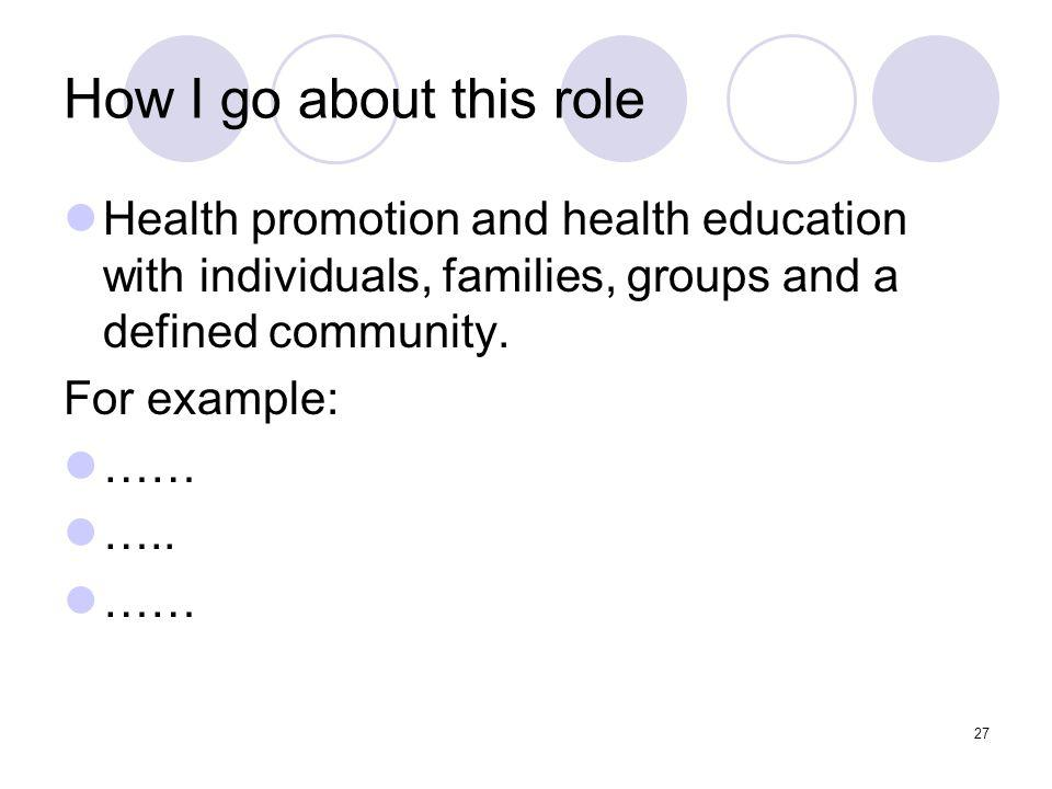 27 How I go about this role Health promotion and health education with individuals, families, groups and a defined community.