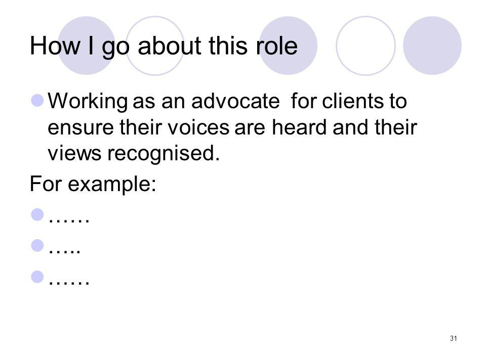 31 How I go about this role Working as an advocate for clients to ensure their voices are heard and their views recognised.