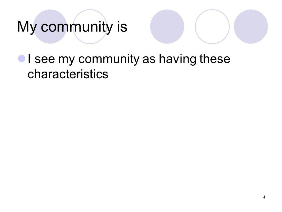4 My community is I see my community as having these characteristics