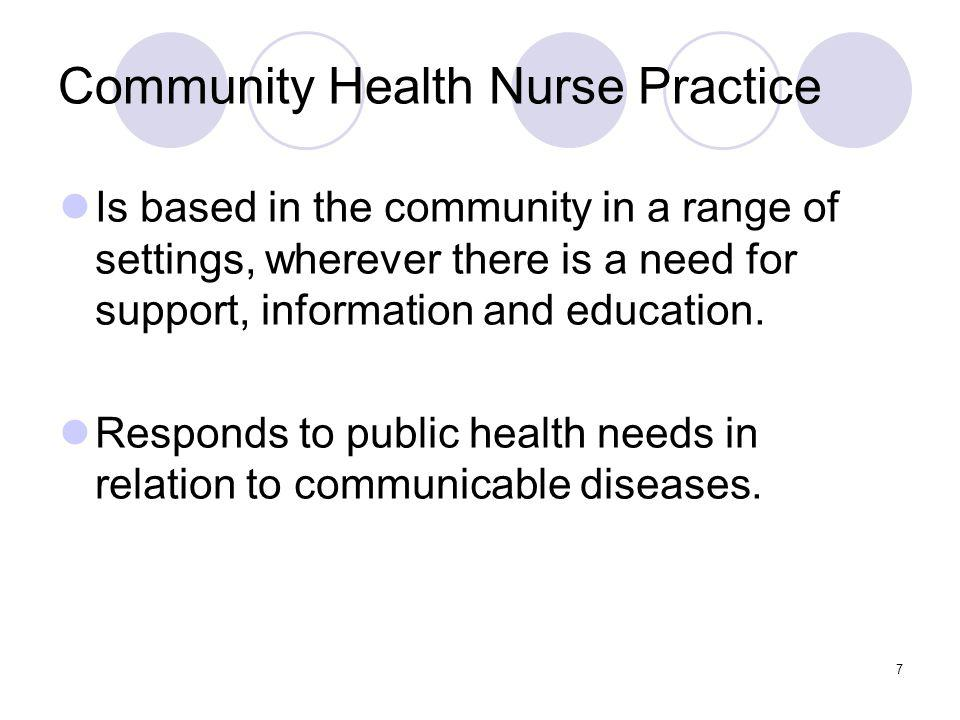 7 Community Health Nurse Practice Is based in the community in a range of settings, wherever there is a need for support, information and education.