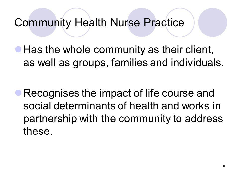 8 Community Health Nurse Practice Has the whole community as their client, as well as groups, families and individuals.