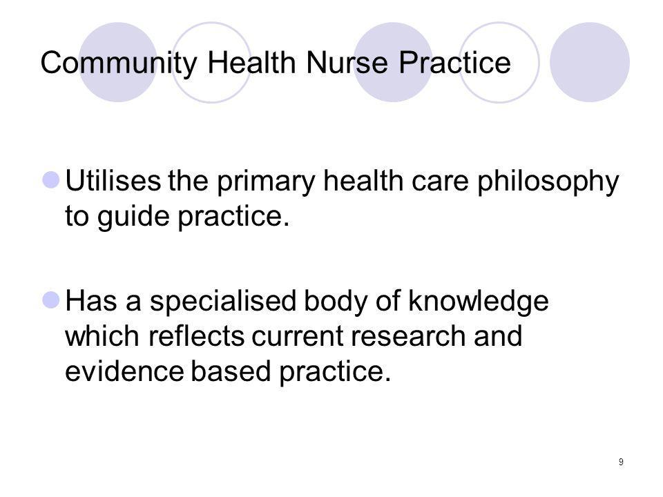 9 Community Health Nurse Practice Utilises the primary health care philosophy to guide practice.