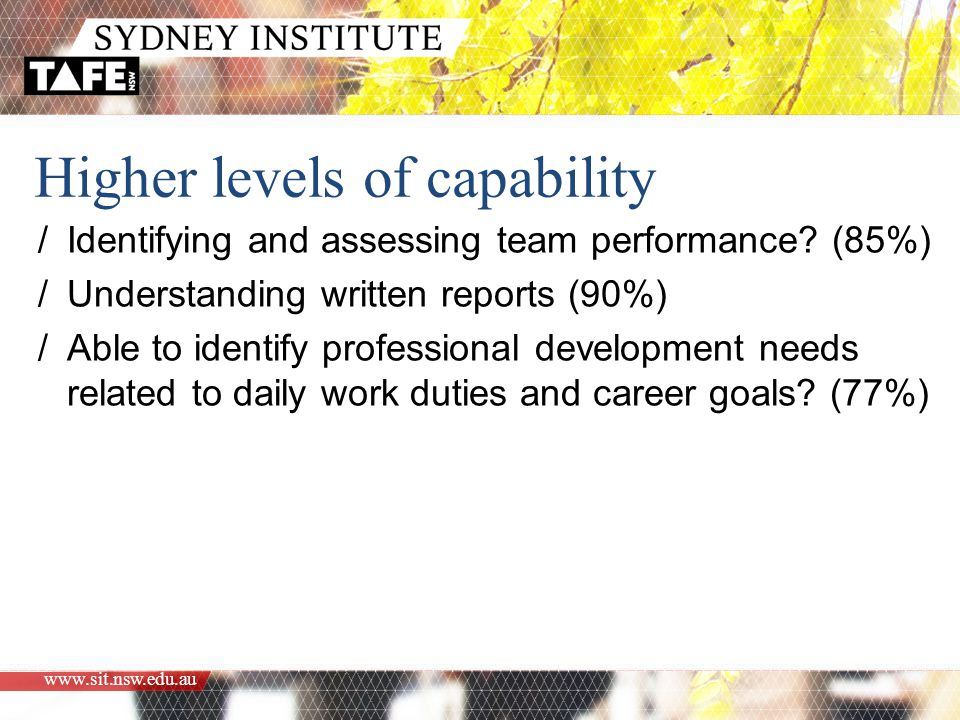 www.sit.nsw.edu.au Higher levels of capability /Identifying and assessing team performance.