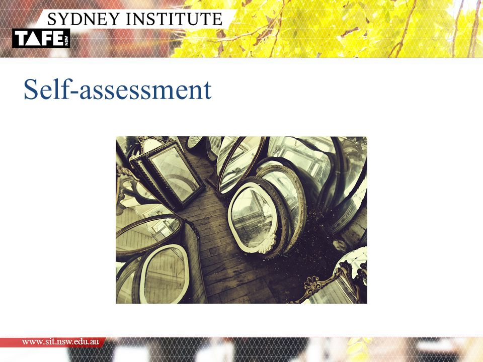 www.sit.nsw.edu.au Self-assessment