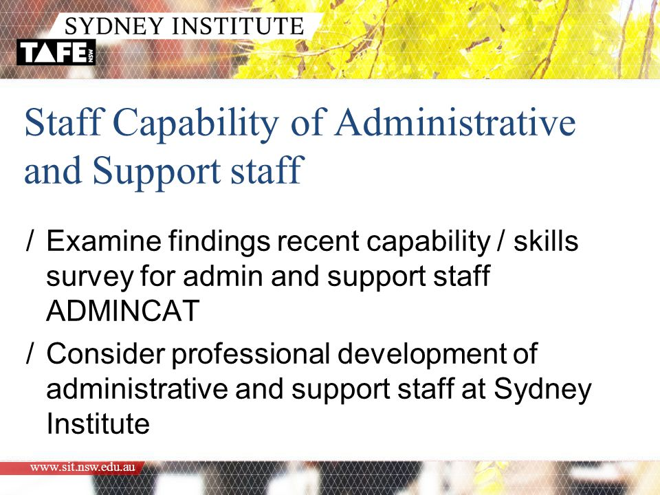 www.sit.nsw.edu.au Staff Capability of Administrative and Support staff /Examine findings recent capability / skills survey for admin and support staff ADMINCAT /Consider professional development of administrative and support staff at Sydney Institute