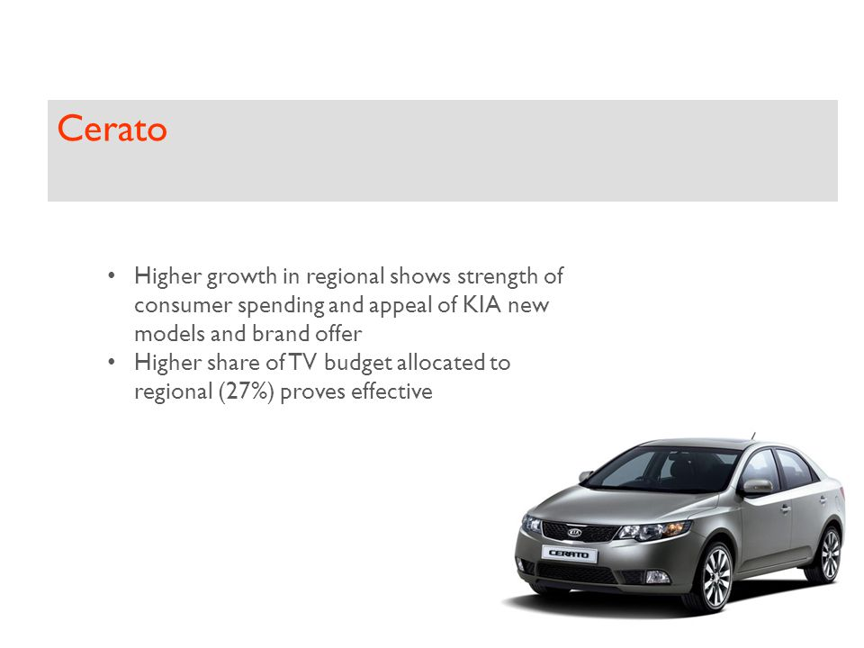Cerato Higher growth in regional shows strength of consumer spending and appeal of KIA new models and brand offer Higher share of TV budget allocated to regional (27%) proves effective