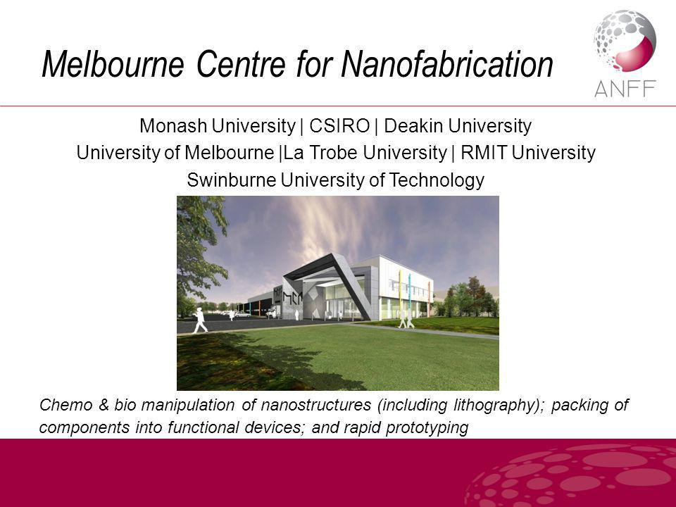Melbourne Centre for Nanofabrication Monash University | CSIRO | Deakin University University of Melbourne |La Trobe University | RMIT University Swinburne University of Technology Chemo & bio manipulation of nanostructures (including lithography); packing of components into functional devices; and rapid prototyping