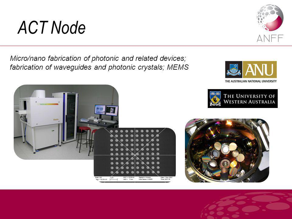 ACT Node Micro/nano fabrication of photonic and related devices; fabrication of waveguides and photonic crystals; MEMS