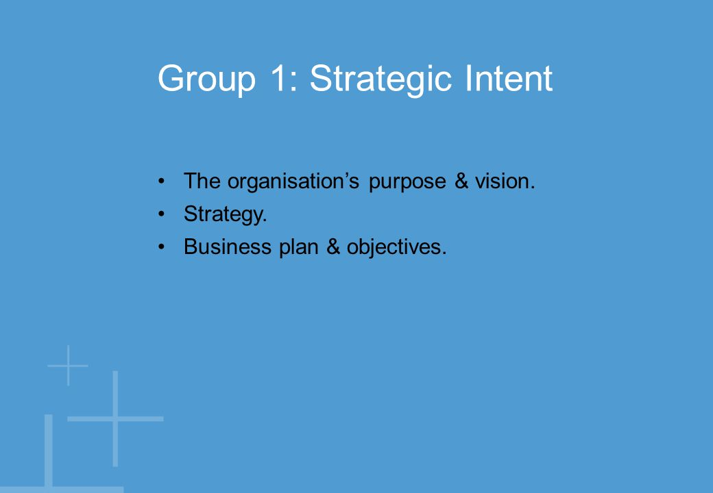 The organisation's purpose & vision. Strategy. Business plan & objectives.